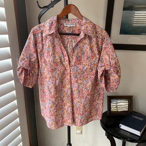 Pink Floral Short-Sleeved Button-Up, Size XL